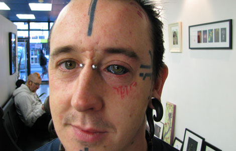 the National Geographic channel where the guy tattooed his eyes black.